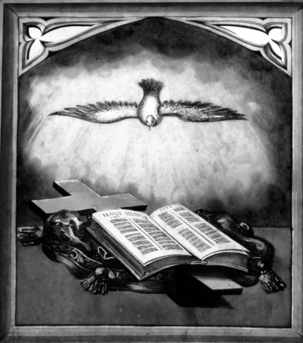 Stained glass window, dove and bible