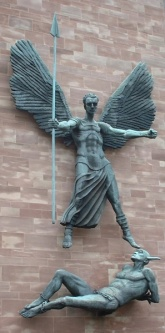 St Michael's Victory over the Devil, a sculpture by Sir Jacob Epstein